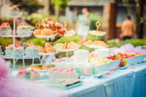 Outdoor wedding food
