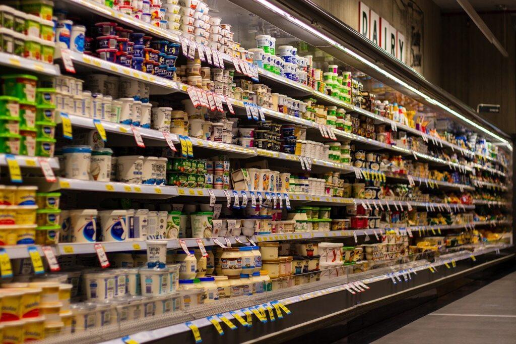 supermarket, shelf, blur