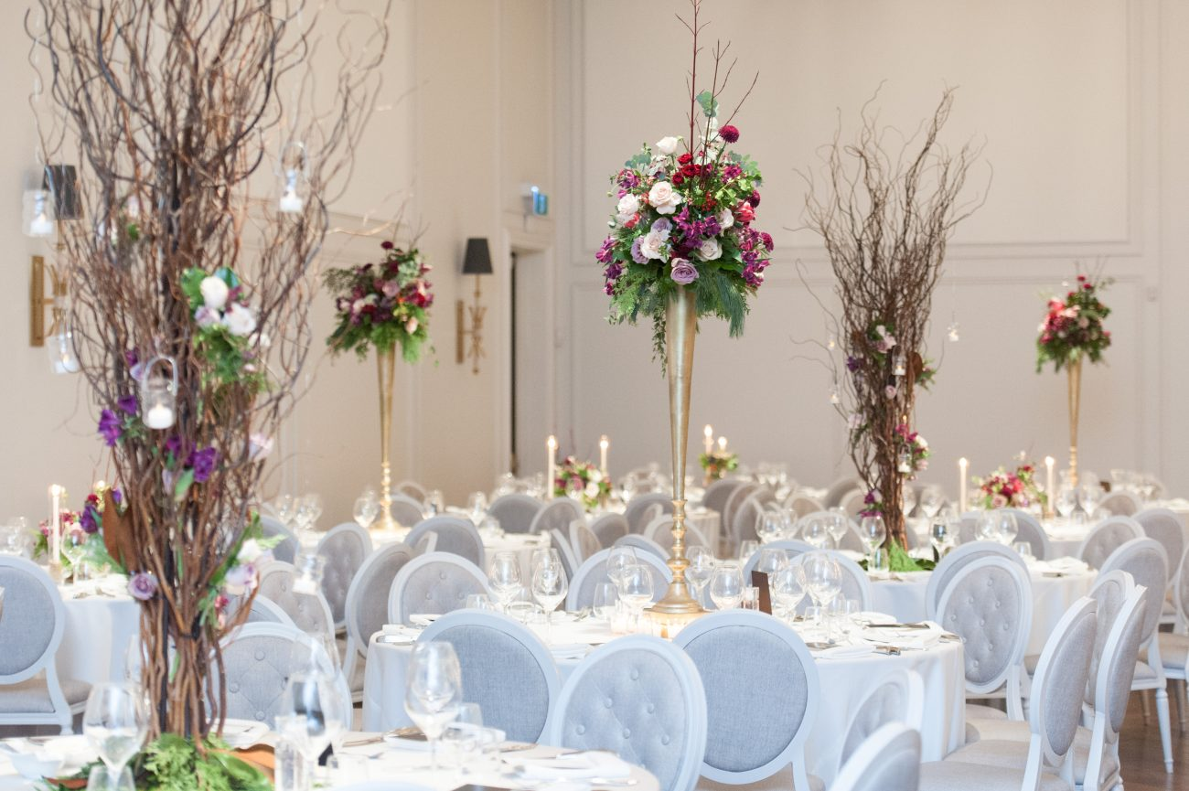 Corporate Event decor with fluted centerpieces