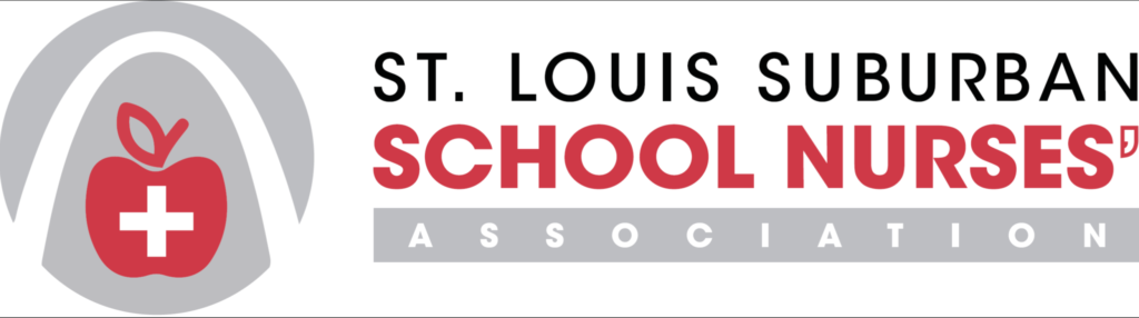 St. Louis Suburban School Nurse's Association logo, text with a graphic featuring The Arch with an Apple with a medical cross inside.