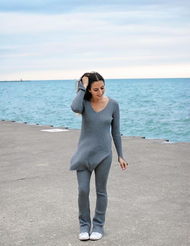 Grey Knit Flared Pants