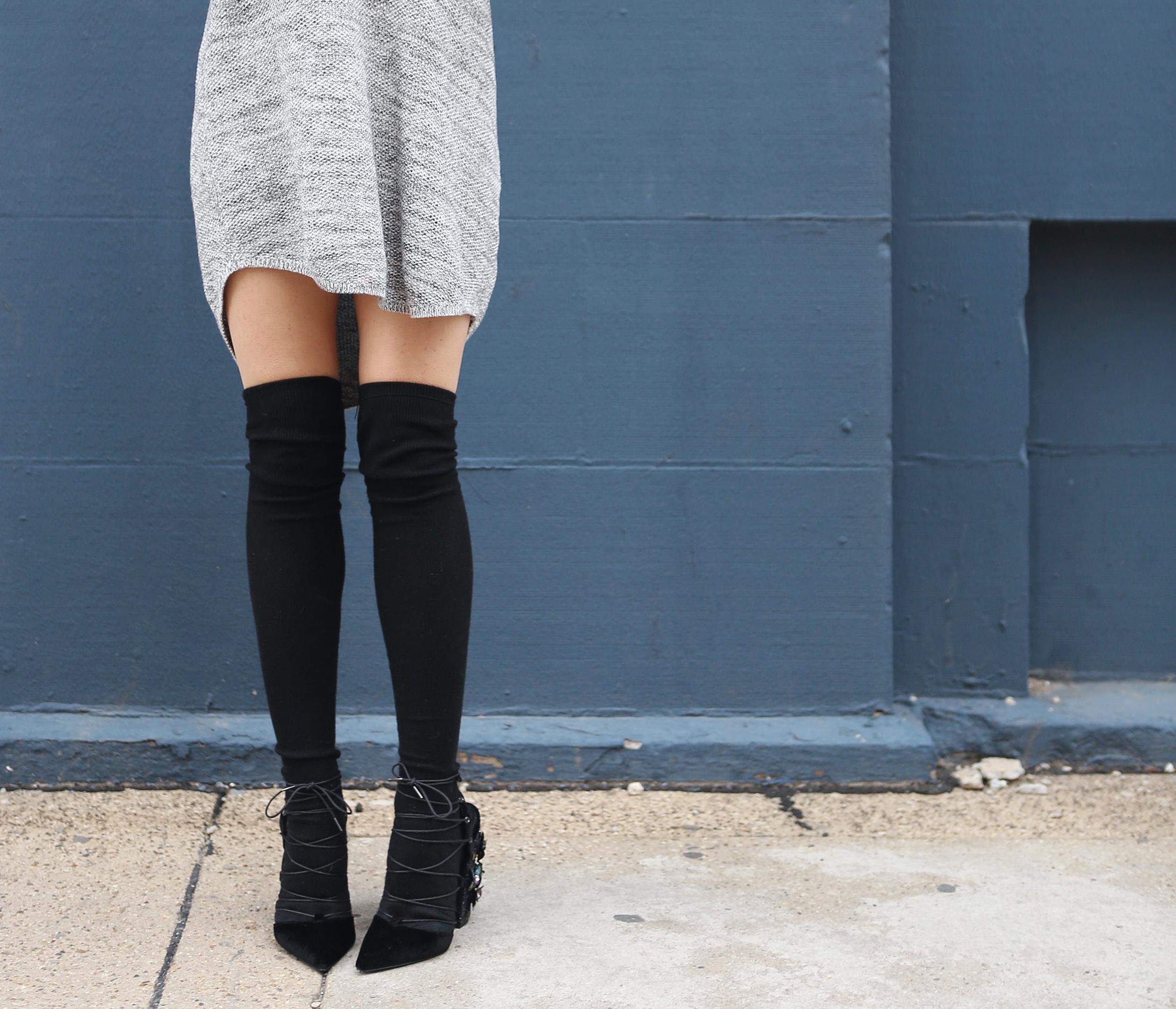 Sweater Dress & Thigh High Socks