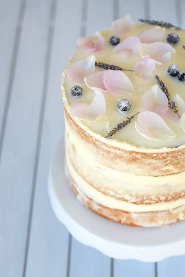 Lavender, Blueberry, & Peony Naked Floral Cake Recipe