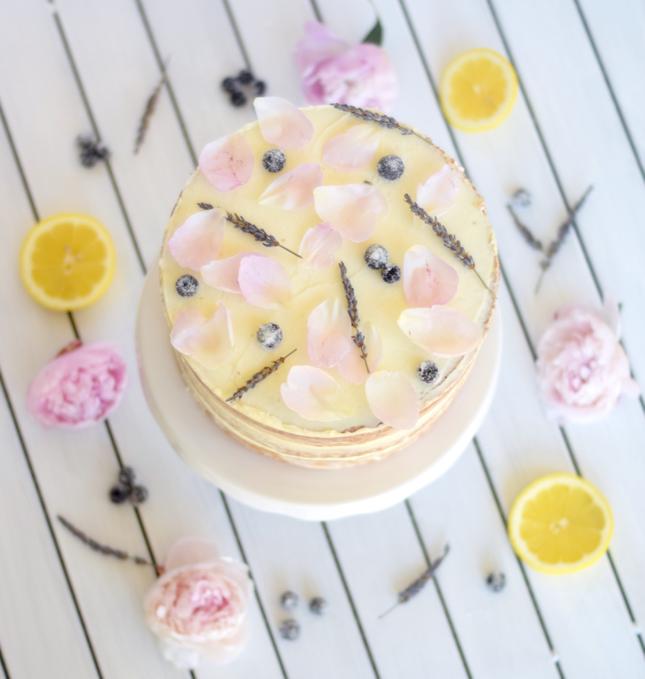 Lavender Lemon Peony Blueberry Naked Cake Recipe Tutorial