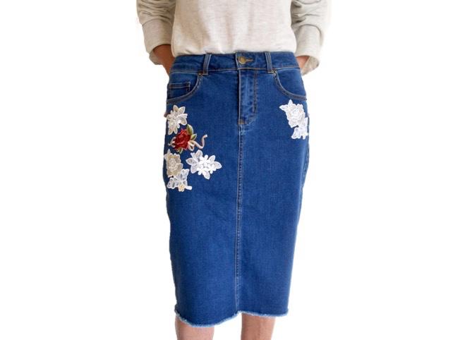 DIY Embroidered Denim Skirt (1)