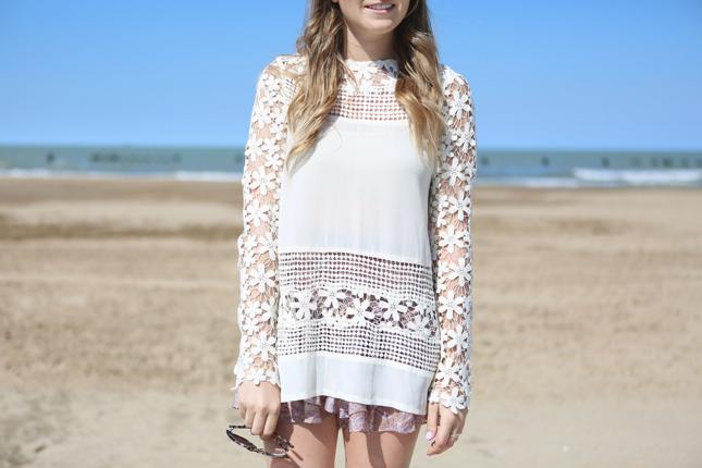 White Crochet Open Back Shirt