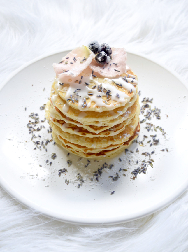 Candied Blueberry Lavender Rose Pancakes