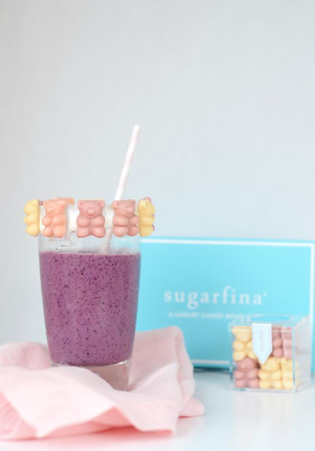 Bear-y Smoothie Recipe Made with Bananas, Blueberries, Yogurt, & Sugarfina Bear-y Smoothie Candy
