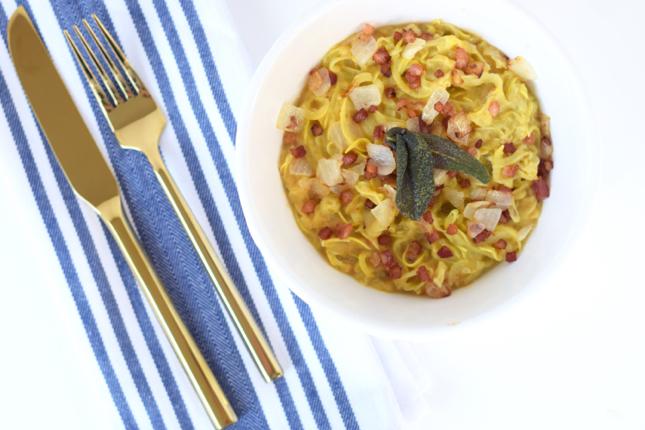 Healthier Carbonara Squash Pasta With Butternut Squash Cream Sauce Pancetta Onion & Fried Sage