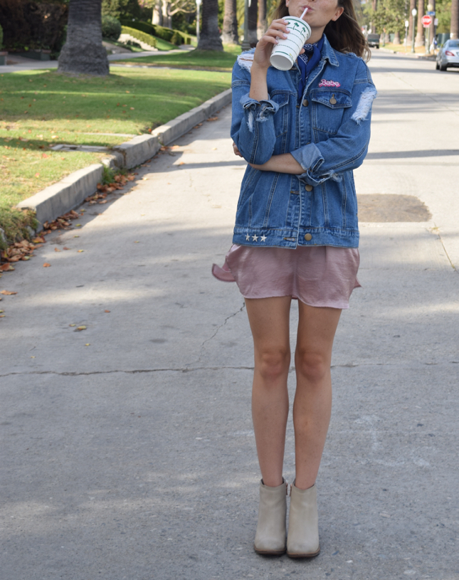 LA Fashion Blogger DIY Embroidered Denim Jacket