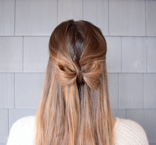 how to create the half up hair bow ponytail