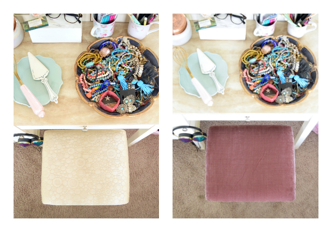 diy fabric stool cover tutorial