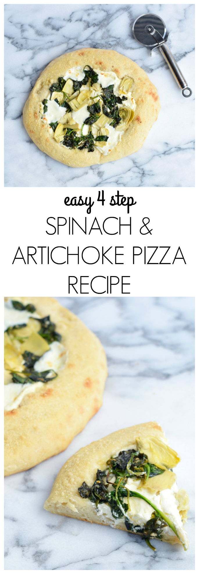 EASY 4 STEP SPINACH & ARTICHOKE PIZZA RECIPE