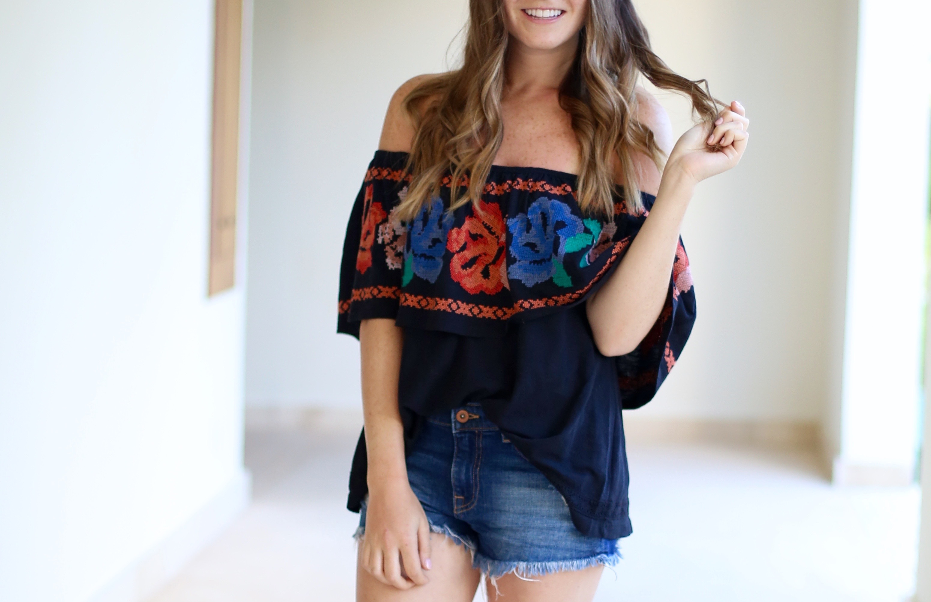 Free People Off The Shoulder Mexican Floral Top
