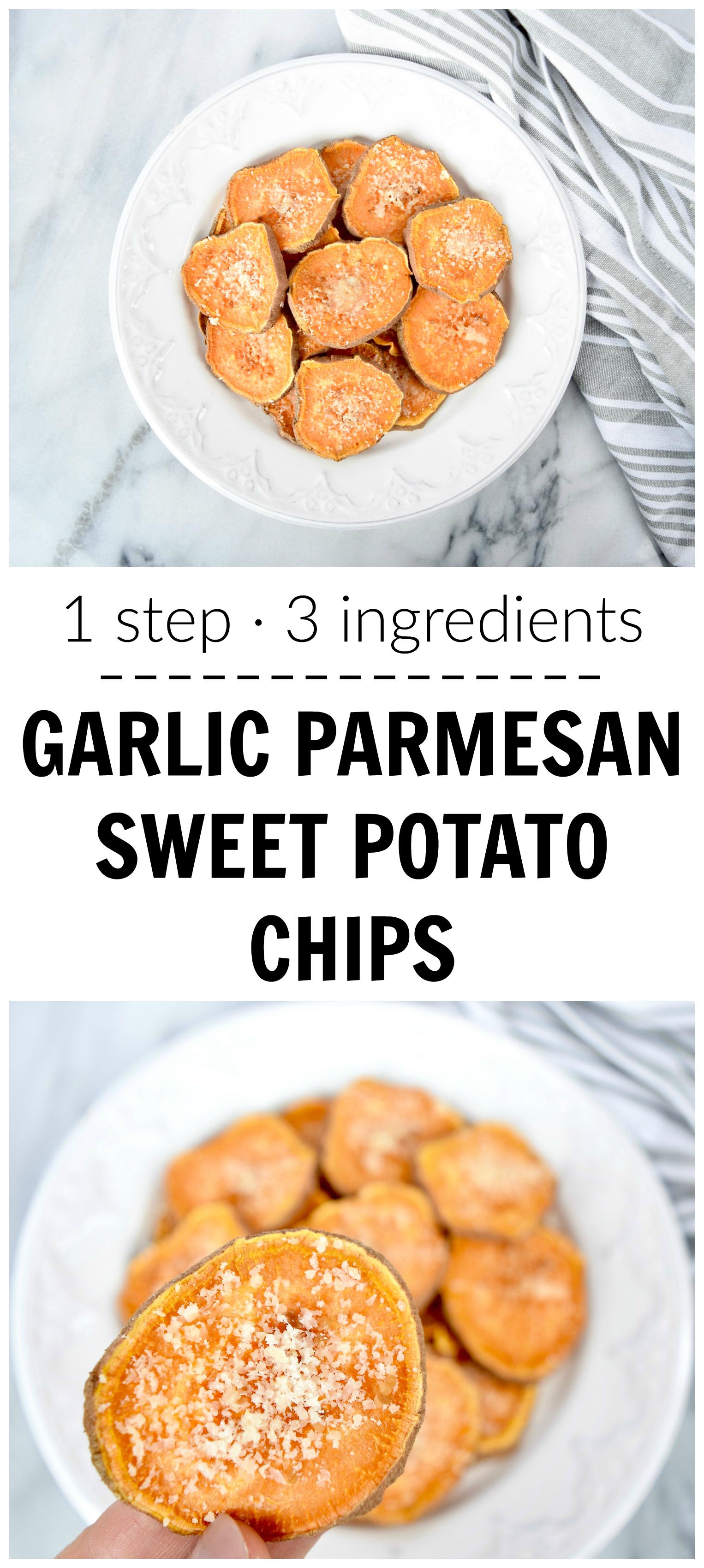 1 STEP GARLIC PARMESAN SWEET POTATO CHIPS