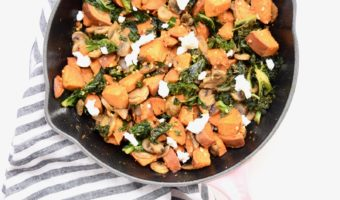 Sweet Potato Kale Mushroom Goat Cheese Hash Recipe
