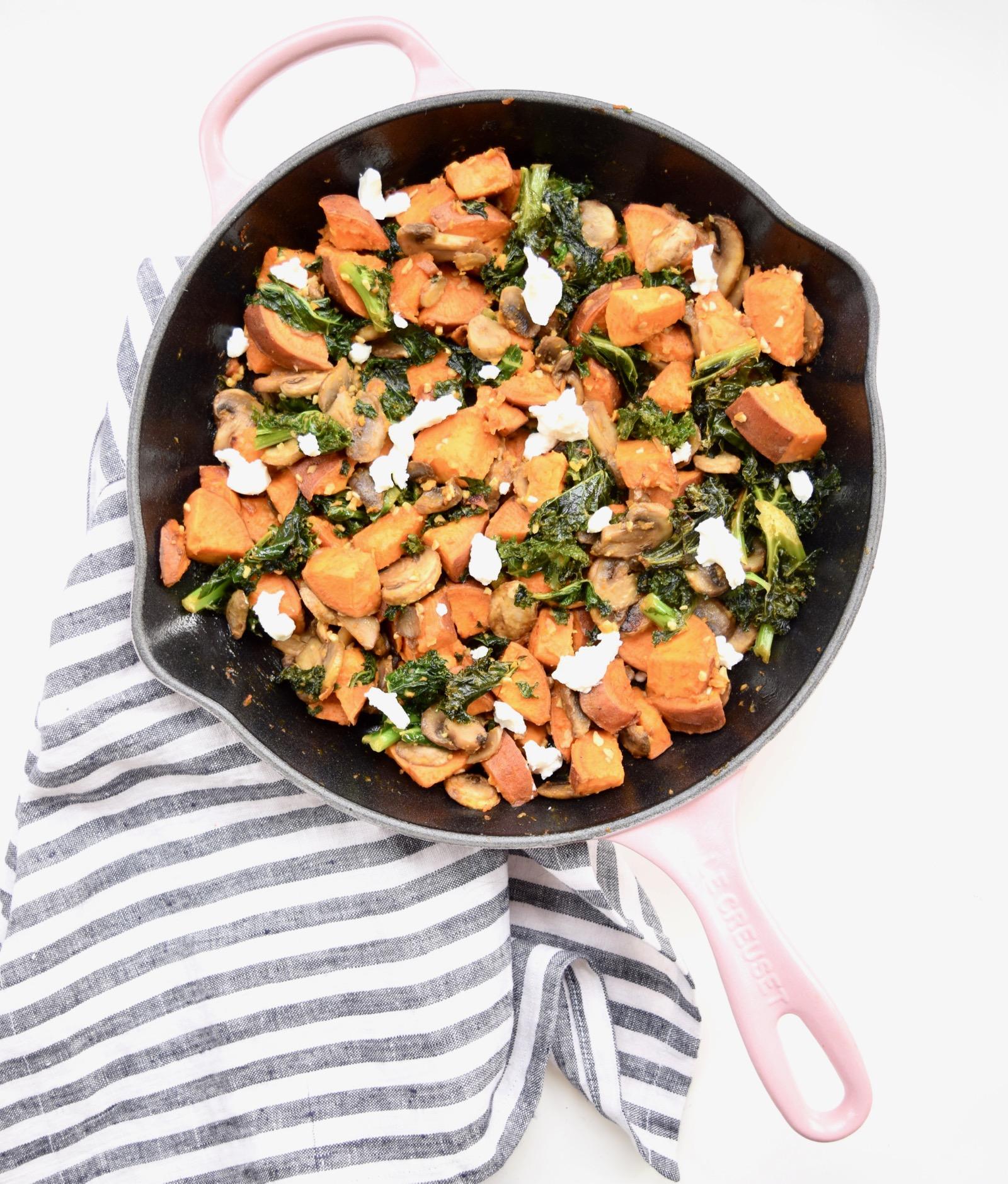 Sweet Potato Kale Mushroom Goat Cheese Hash Recipe