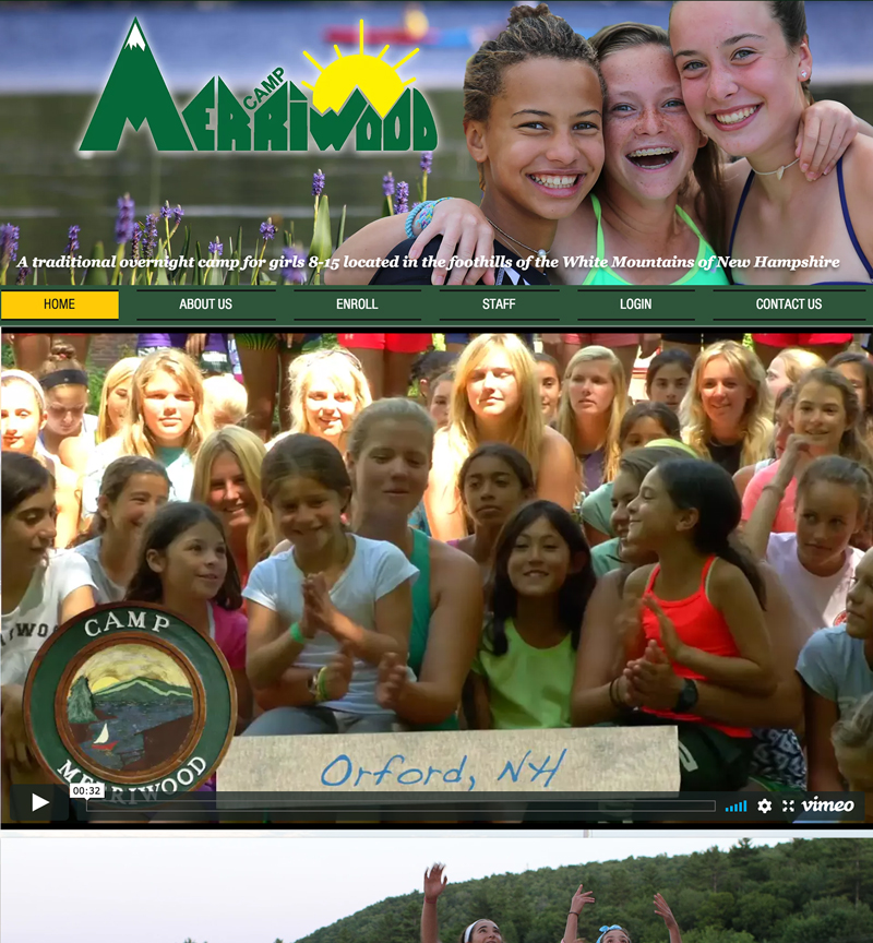 Camp Merriwood website, girls camp in New Hampshire on the lake