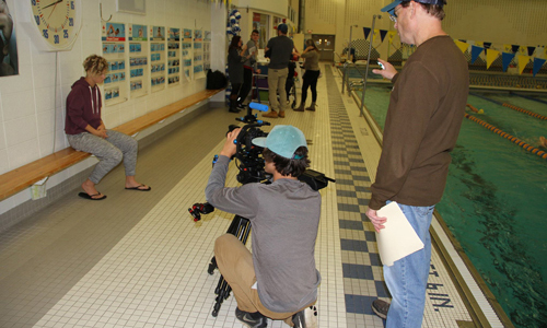 Justin Hardesty and Don Hyde shooting video for Disabled Sports USA in Illinois