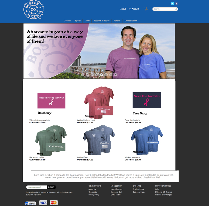 Boston Accents clothing company product website in Waterville Valley, New Hampshire