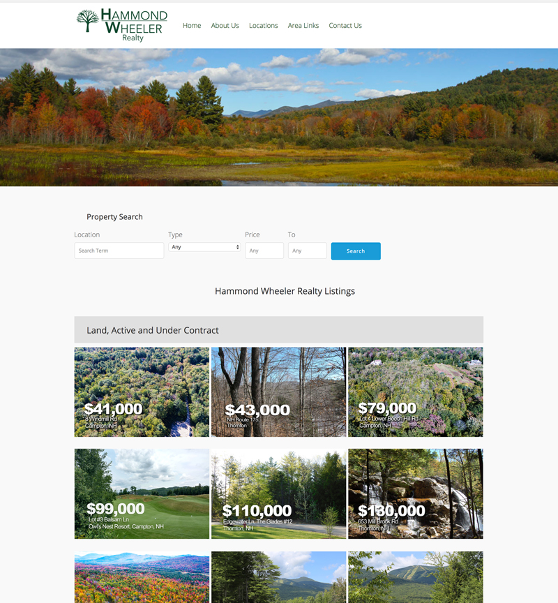 Hammond Wheeler Realty website in New Hampshire, drone videography and photography