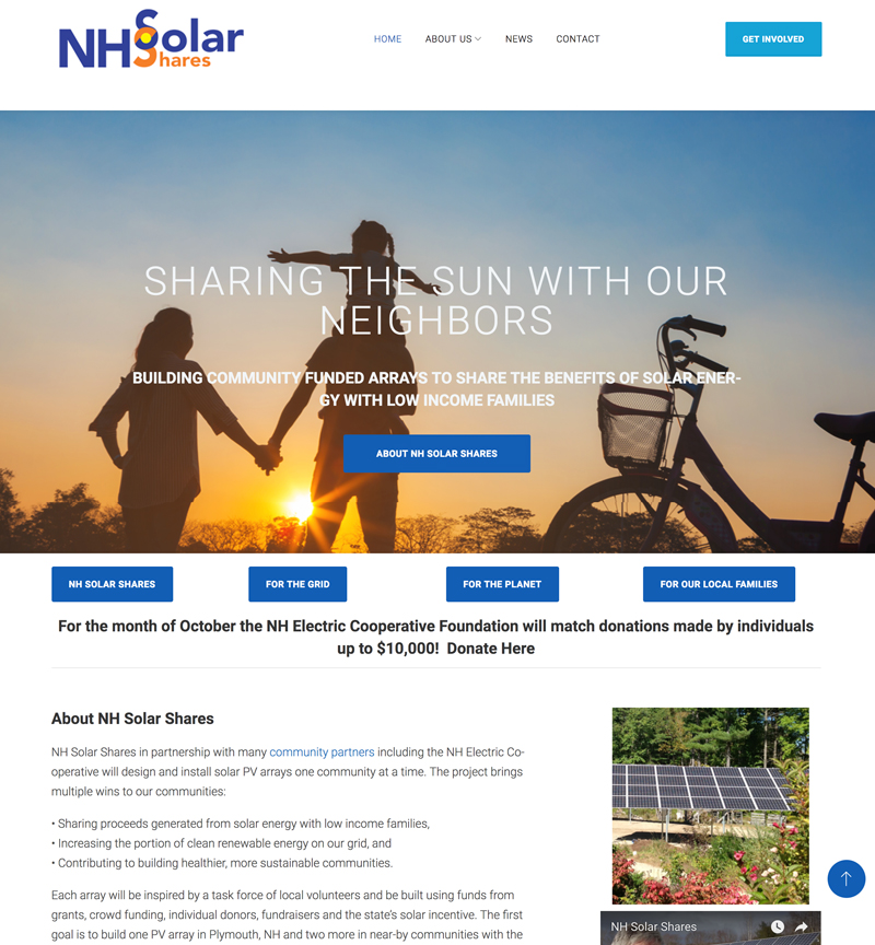 New Hampshire Solar Shares website by EVP Marketing and Media
