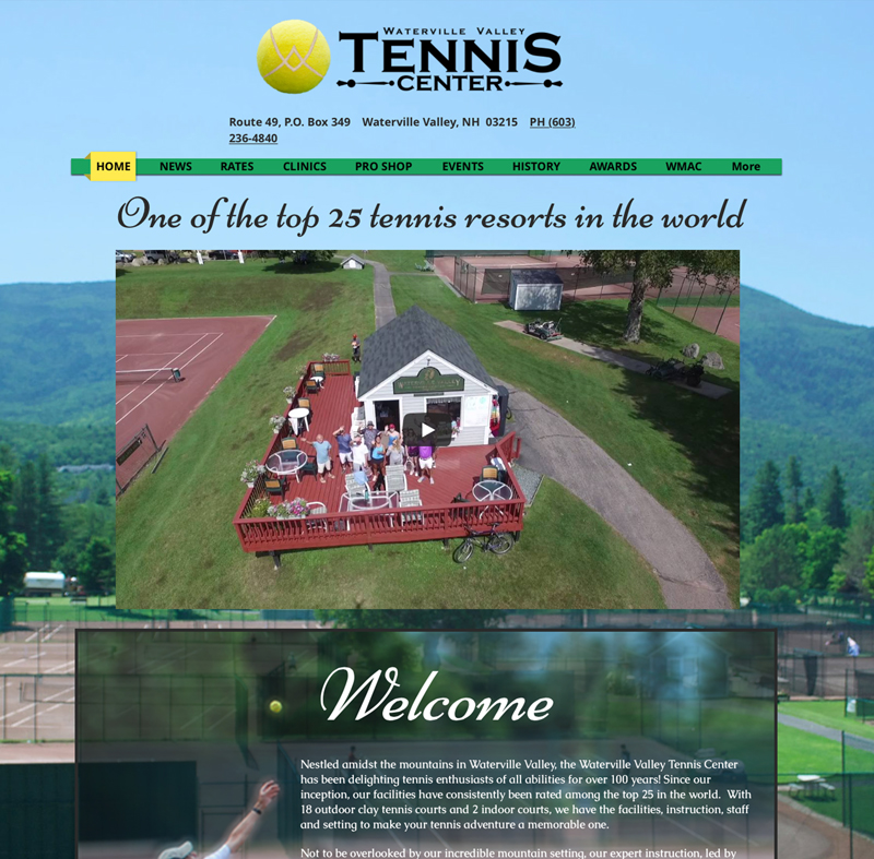 Waterville Valley Tennis Center website in New Hampshire