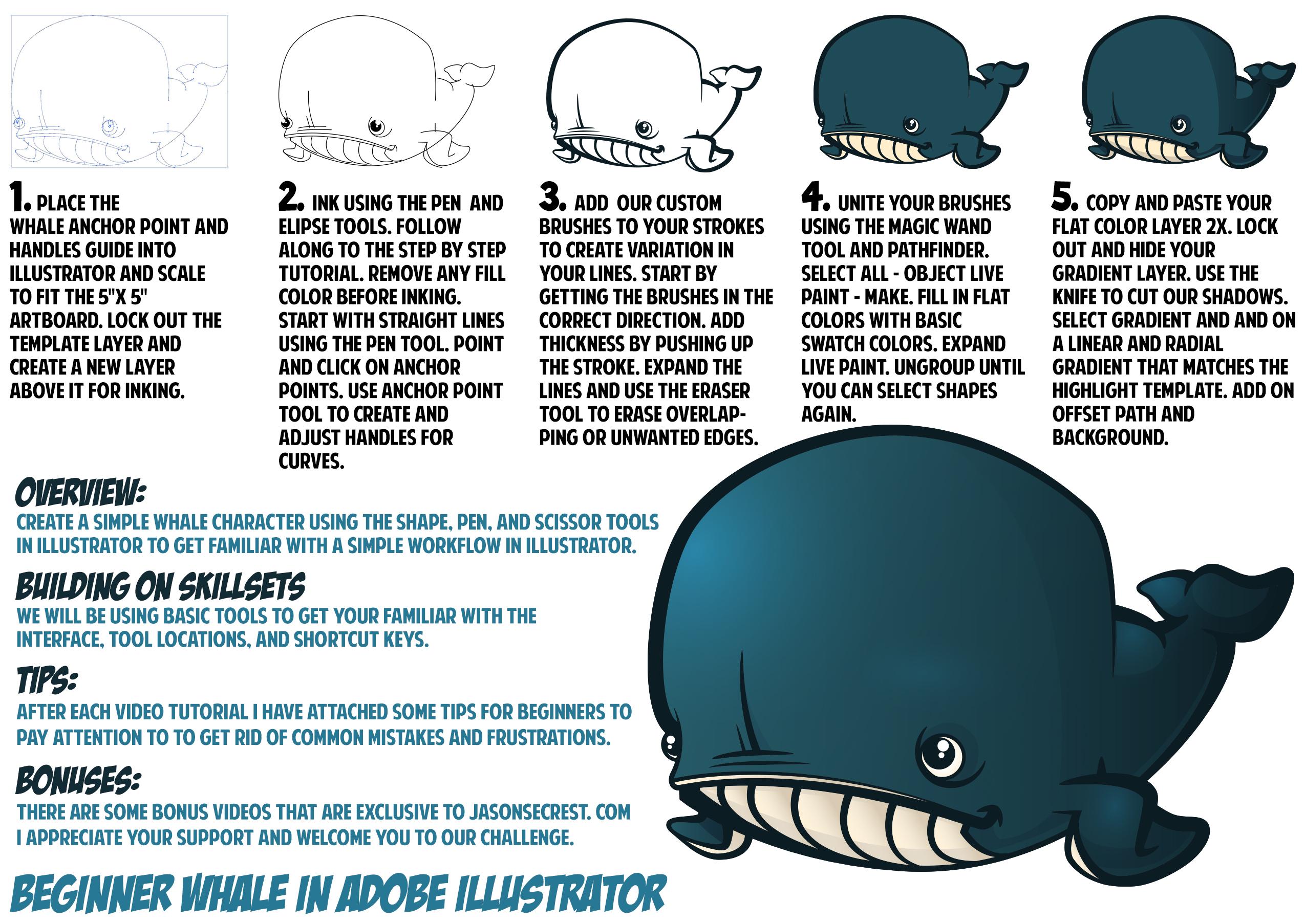 Learn Adobe Illustrator Whale Challenge - Jason Secrest
