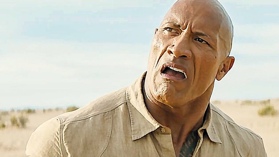 Dwayne Johnson with a confused look on his face from Jumanji The Next Level 2019
