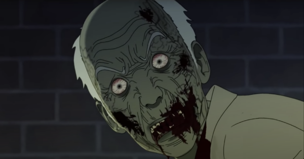 Old man zombie stares at you with white eyes and bloody mouth