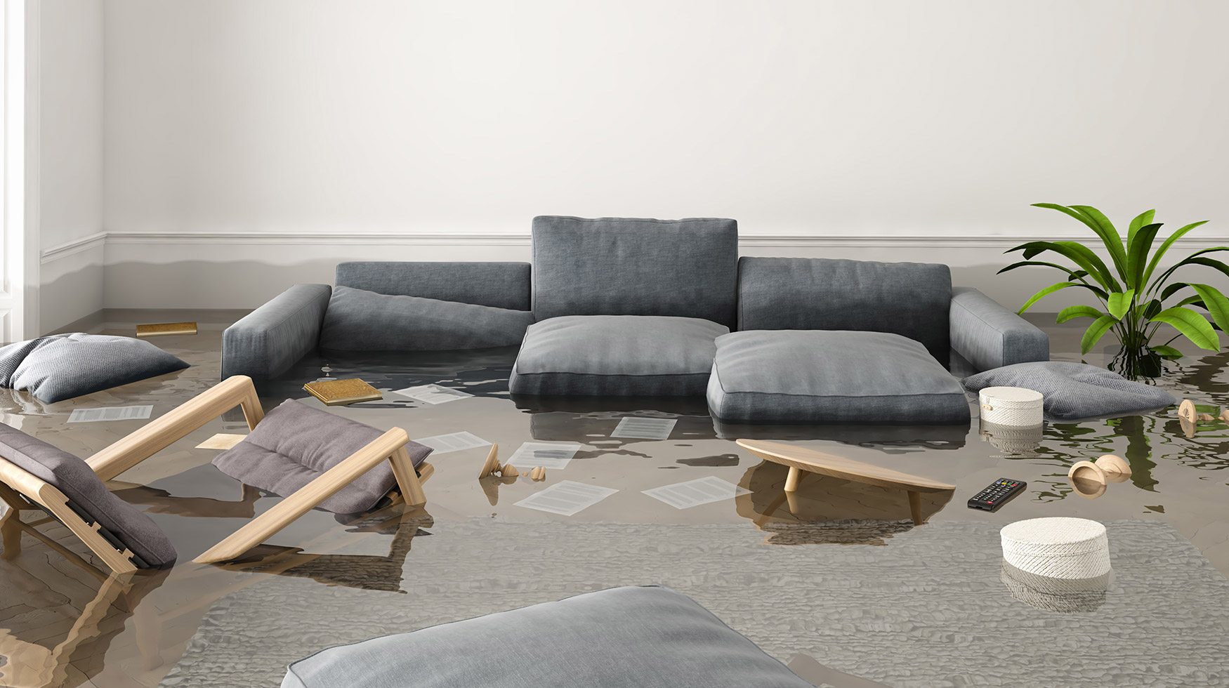 Solution contents restoration after flood damage for insurance agents and property owners