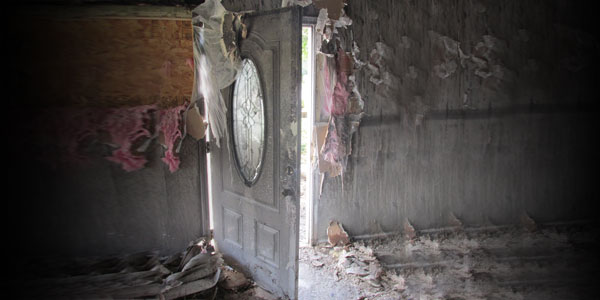 Interior House Door Entrance - Fire Damage - Before