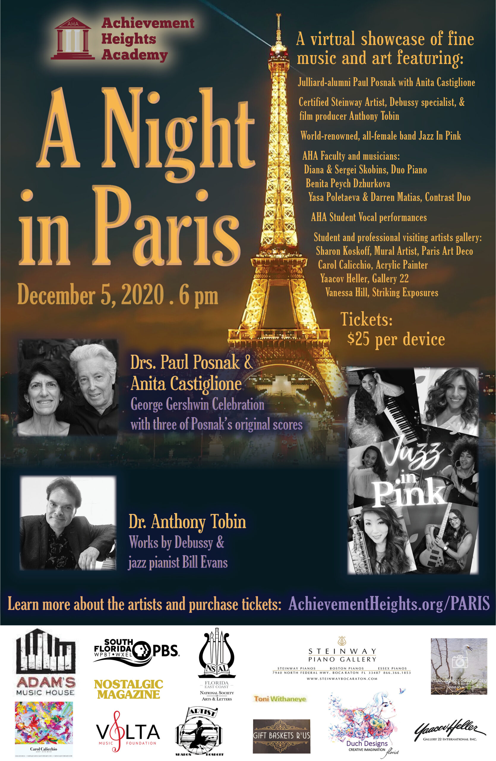 Night in Paris Jazz in Pink Announcement Flyer Facebook & email