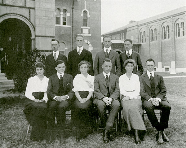 The Thresher's first crop of editors, pictured in the 1916 Campanile, included editor-in-chief William M. Standish '16, seated in the bottom row, fourth from the left.