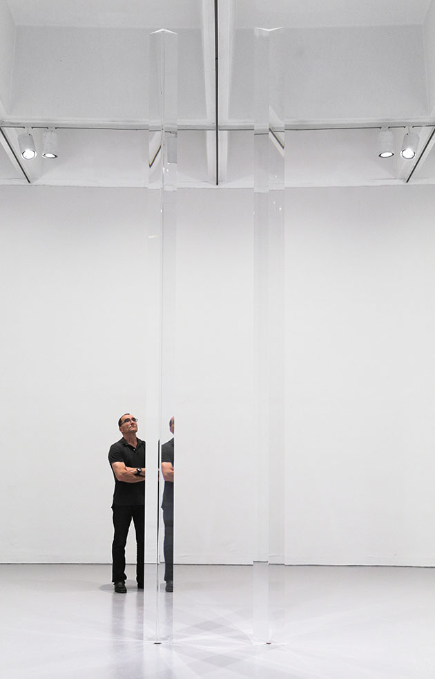 Robert Irwin, Installation view of Untitled (Acrylic Column), 1969–2011, and Untitled (Acrylic Column), 1969–2011, in Robert Irwin: All the Rules Will Change at the Hirshhorn Museum and Sculpture Garden, 2016. Artwork © 2016 Robert Irwin