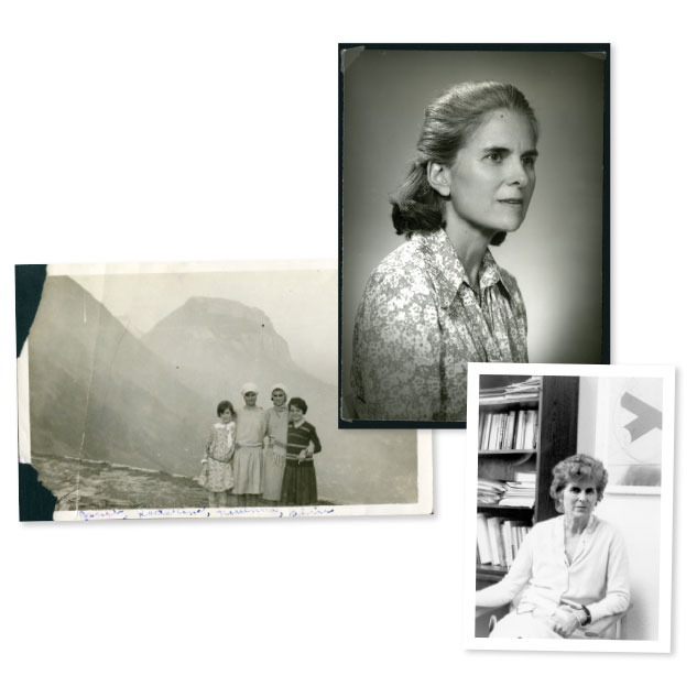 Clockwise from top: Brown, pictured in 1971, when she won the Brown Prize for Excellence in Teaching; in her office in 1983; and posing with her sister and the daughters of Rice Dean Robert Caldwell in Grenoble (second from left). Photos courtesy of Woodson Research Center