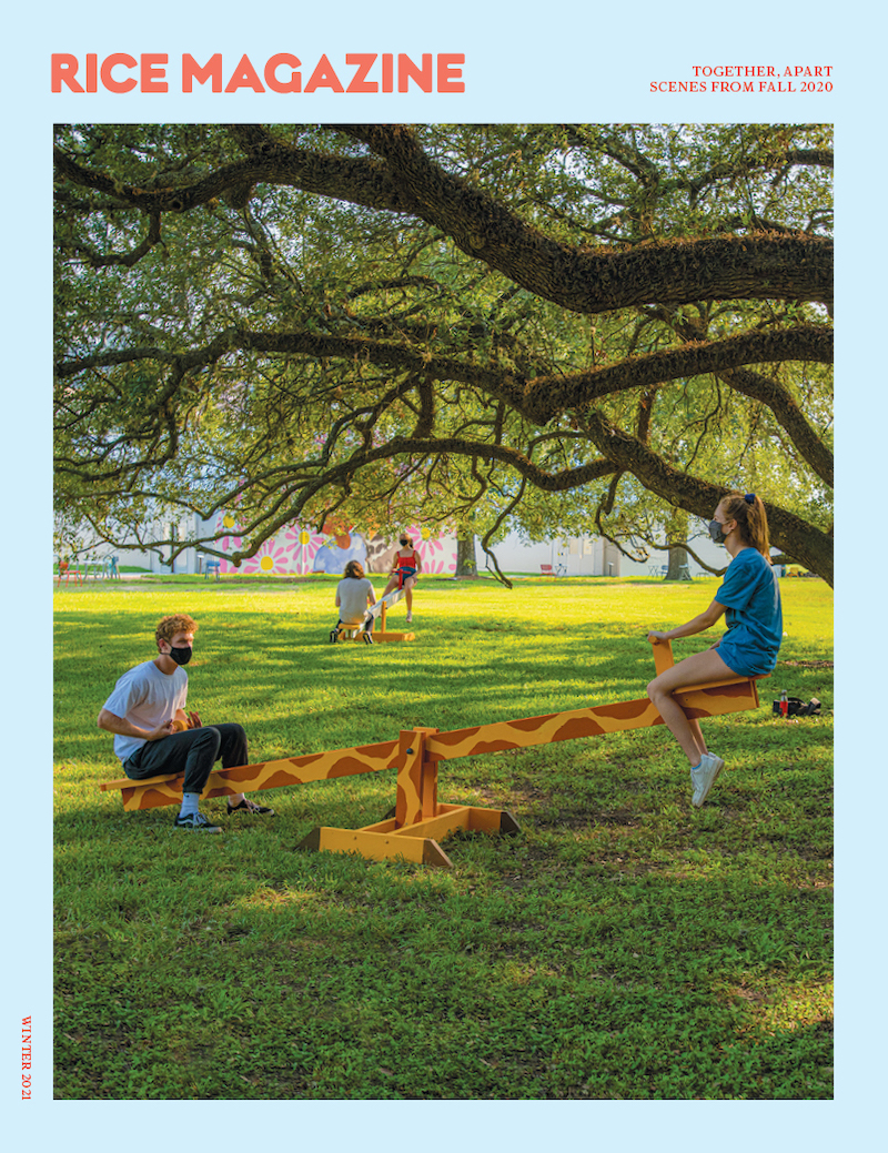 image of Rice U. students on a campus seesaw