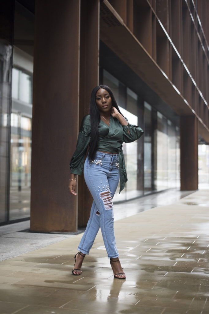 Seasonal Looks - The Satin Wrap Top and Detailed Denim