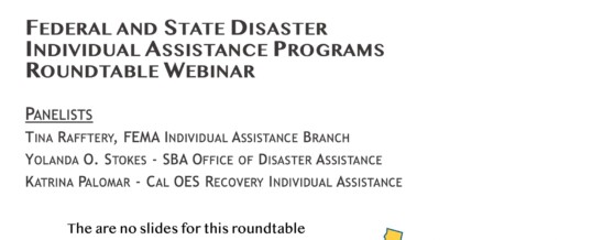 Federal and State Disaster Individual Assistance Programs Roundtable