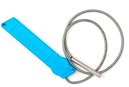 Semi-passive RFID Tag with Temperature Probe is used for tracking produce or pharmaceuticals.