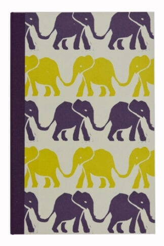 Elephants in Purple and Acid Yellow- Small Notepad Holder