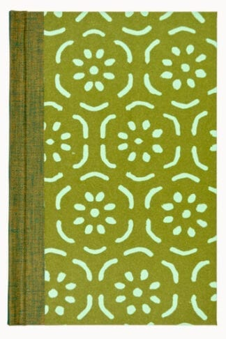 Pear Halves in Olive Green and Sea Green- Hand Sown Hardback Notebook