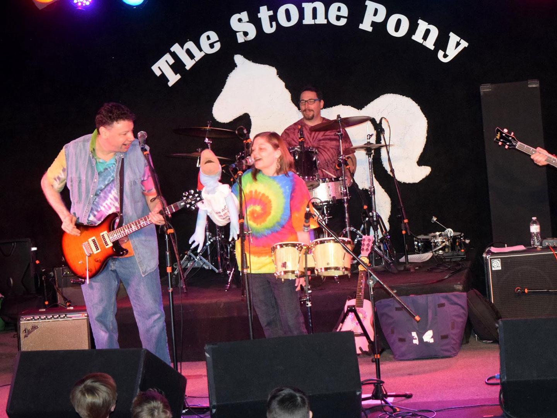 "Jungle Gym jam - Jersey Jason, Awesome Amy & Rockin' Ross with ""Bruce"" the Jersey Dinosaur at the legendary Stone Pony"