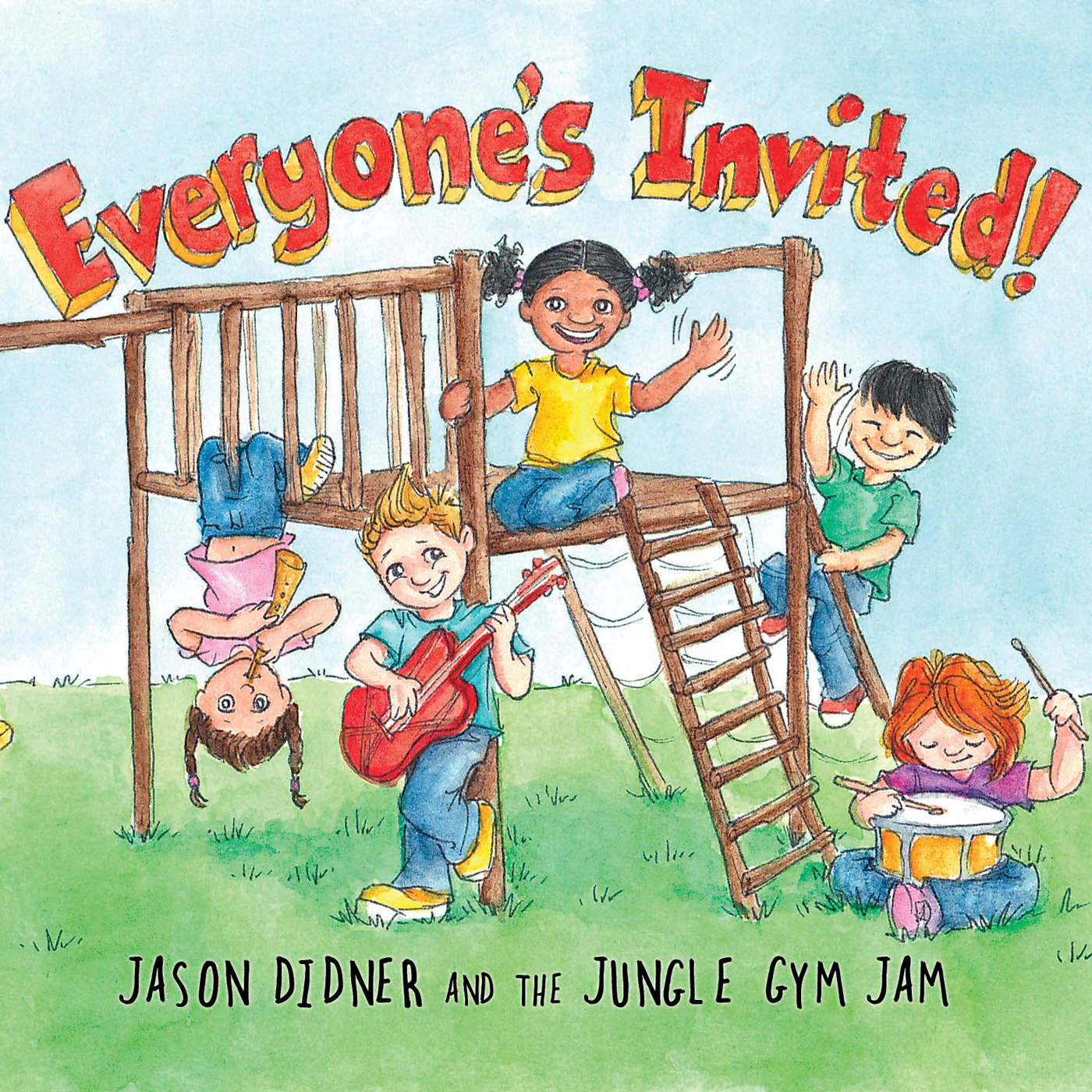 Everyone's Invited! album cover artwork - Jason Didner and the Jungle Gym Jam - illustrated by Melissa Bailey