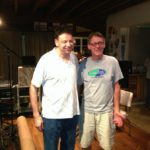"""Jason takes a break with producer Dave Cushing in Snowdome Studios in Montclair, NJ in between takes for the """"Everyone's Invited"""" sessions."""