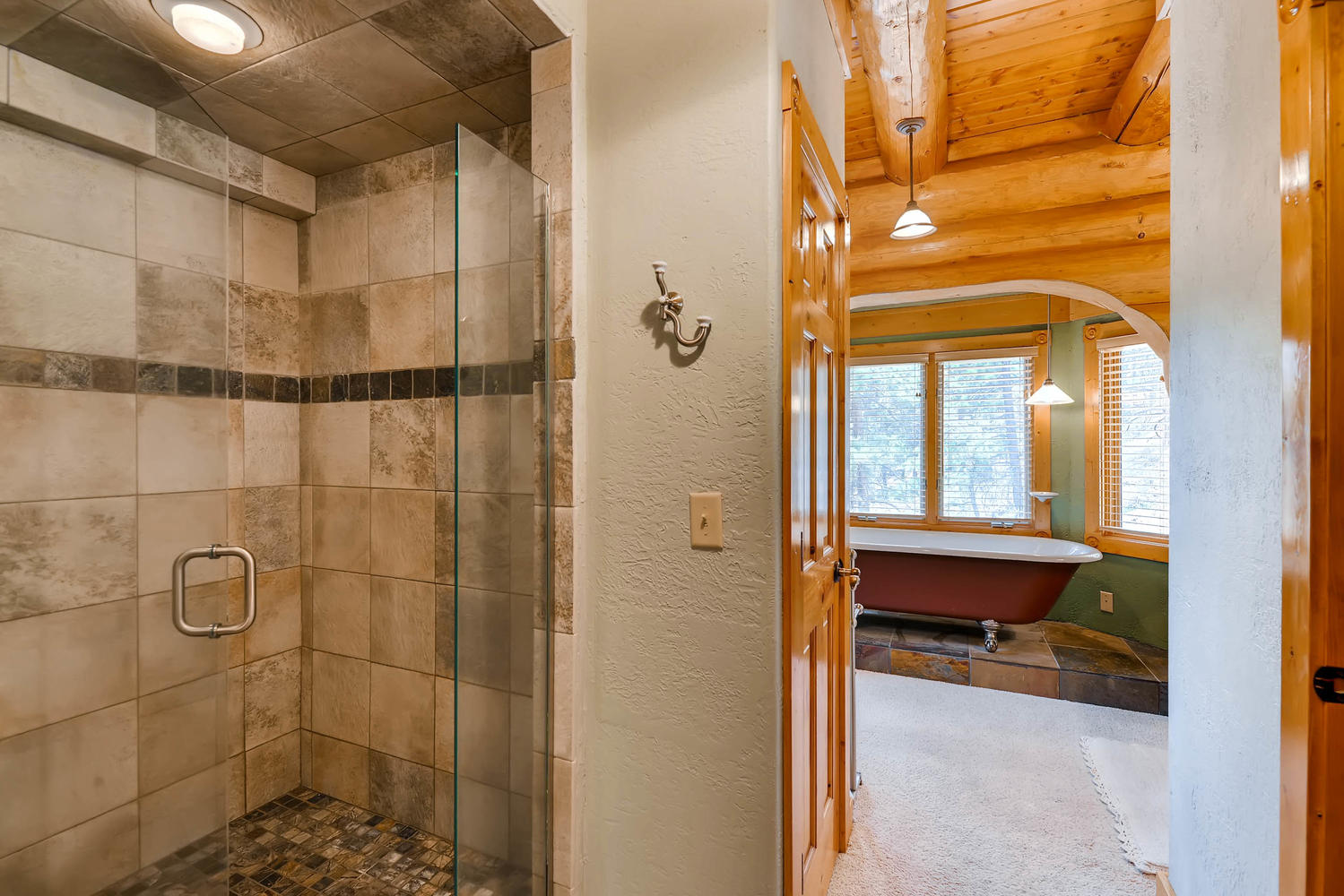 Oversized shower in the main level master bath.