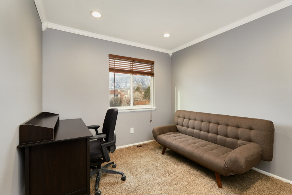 The third bedroom has office space in case you need to bring work with you. The futon folds down to a full bed.