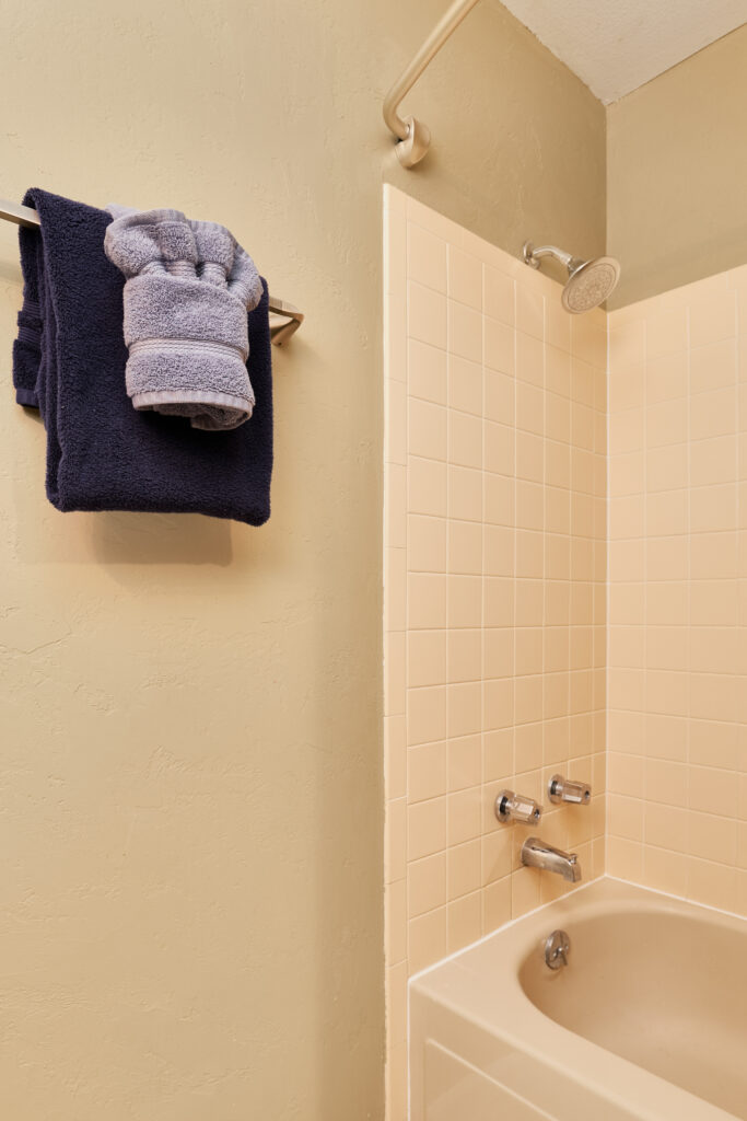 There is a tub/shower combo in the second bedroom.