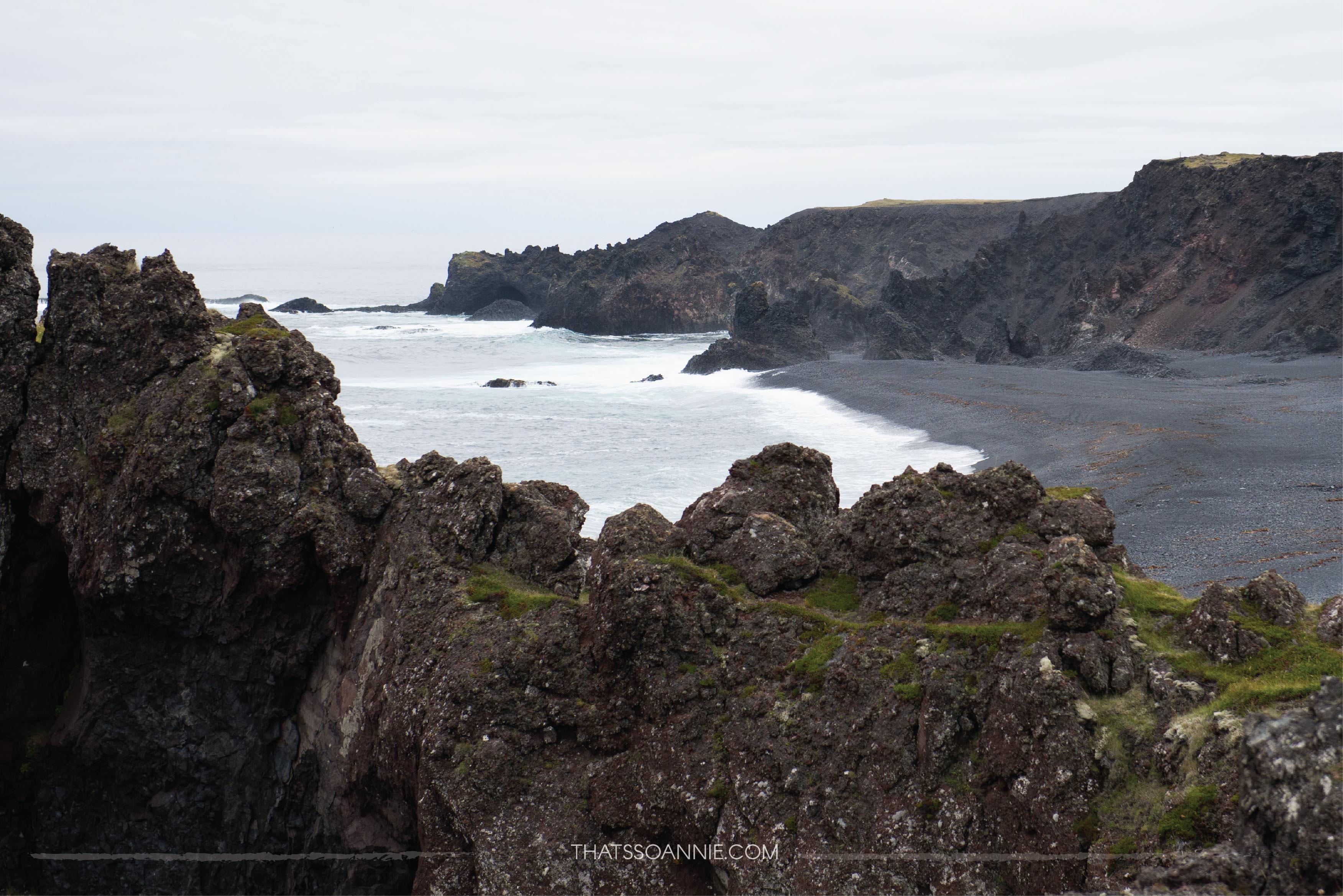 An easy trail leads down from the parking lot towards Djúpalónssandur, a black pebble beach | Exploring the Snæfellsnes Peninsula, Iceland | www.thatssoannie.com