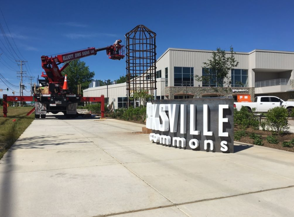 Installation of channel letters with 60ft bucket truck